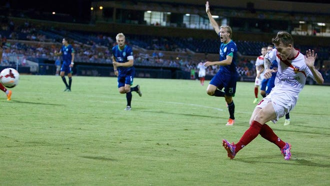 Scott Morrison's shot on goal in the 76th minute found the back of the net in Arizona United's 1-0 victory over Oklahoma City Energy FC Aug. 22, 2014 at the Peoria Sports Complex.