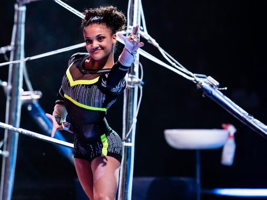 Old Bridge native Laurie Hernandez, seen here during the Kellogg's Tour of Gymnastics Champions, got her start at Monmouth Gymnastics in Morganville.