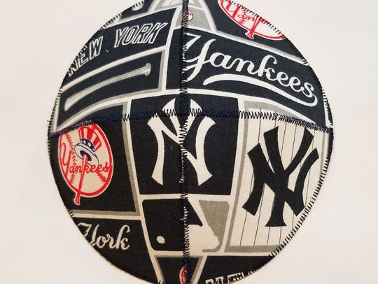 A Yankees kippah is currently part of a fashion exhibit