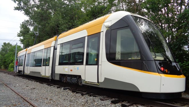 A streetcar undergoes testing at the CAF USA manufacturing plant in Elmira Heights, New York, in August.
