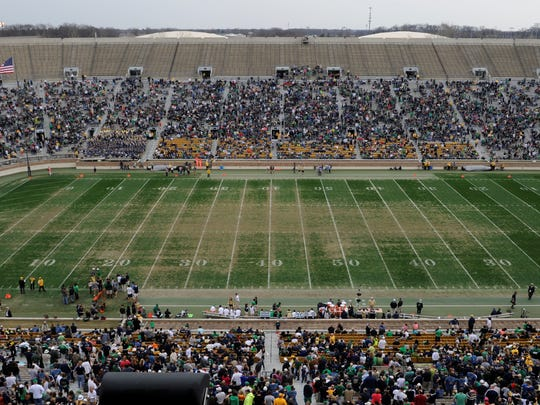 The field at Notre Dame Stadium during half time in Notre Dame's spring NCAA collegefootball game April 12, 2014 in South Bend, Ind.