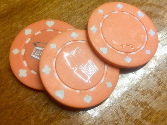 Poker chips for tasting beer at Carton Brewing.