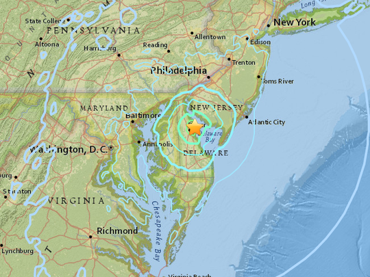 A screenshot of a U.S. Geological Survey map depicting the area affected by a magnitude-4.1 earthquake that struck Delaware on Nov. 30, 2017.