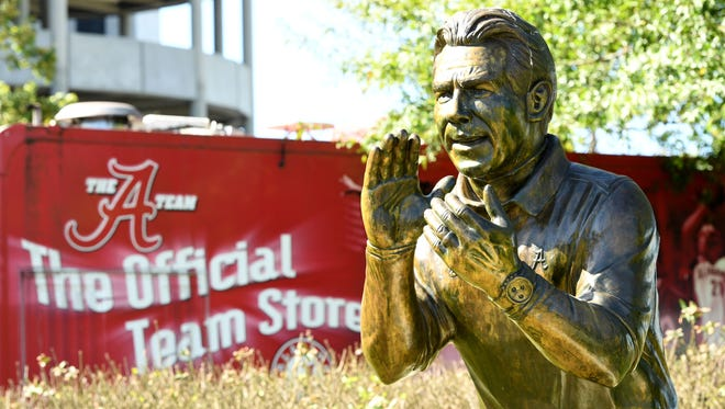 Nick Saban is paid like many CEOs, but unlike them he has a statue in front of his office, Bryant-Denny Stadium.