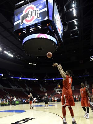 Ohio State guard D'Angelo Russell shoots during practice at the NCAA college basketball tournament in Portland, Ore., Wednesday, March 18, 2015. Ohio State plays VCU in the second round on Thursday. (AP Photo/Don Ryan)