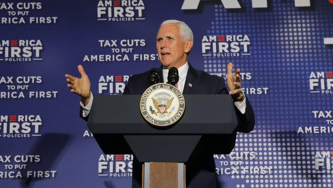 "Vice President of the United States, Mike Pence speaks during the ""Tax Cuts to Put America First"" town hall at the Indianapolis Downtown Marriott in Indianapolis on Friday, May 18, 2018. America's First policies organized the event."