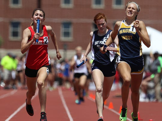 Wausau West's Brooke Jaworski, right, set a state record in the 400 meters and also was part of a record-setting 1,600 relay team at the WIAA state track meet.