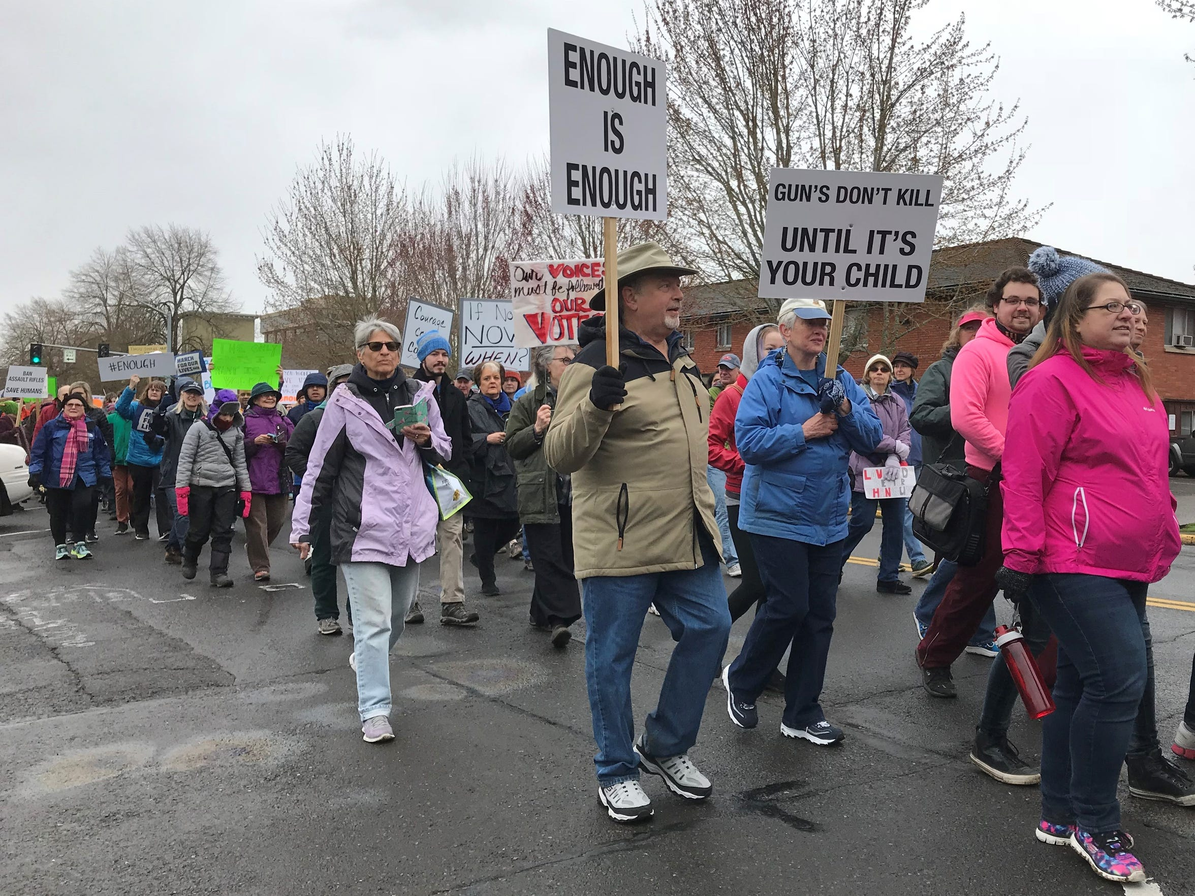 An estimated 2,400 people are marching from the Oregon State Capitol calling for stricter gun laws to protect students, teachers and vulnerable communities on Saturday, March 24, 2018.