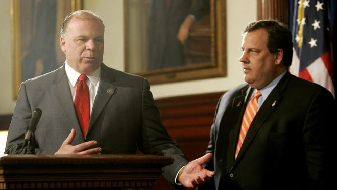 Senate President Stephen M. Sweeney, D-West Deptford, left, and New Jersey Gov. Chris Christie announce a deal on how to fill the vacant seats on the state Supreme Court during a news conference at the State House in Trenton, N.J., Monday, May 2, 2011.