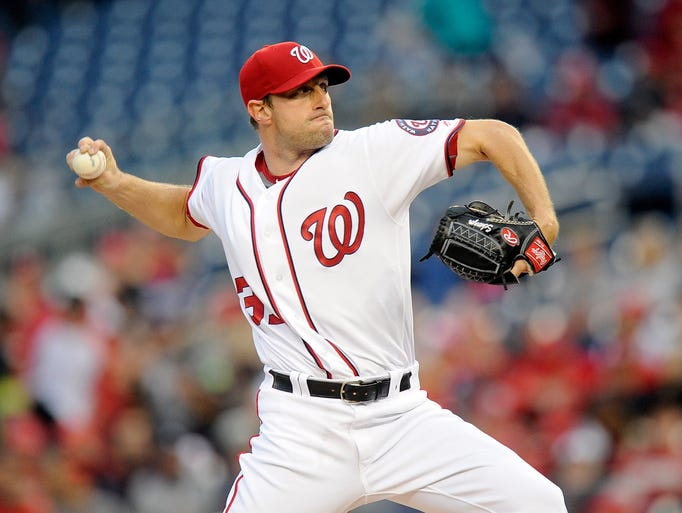 Washington Nationals' Max Scherzer pitches in the first