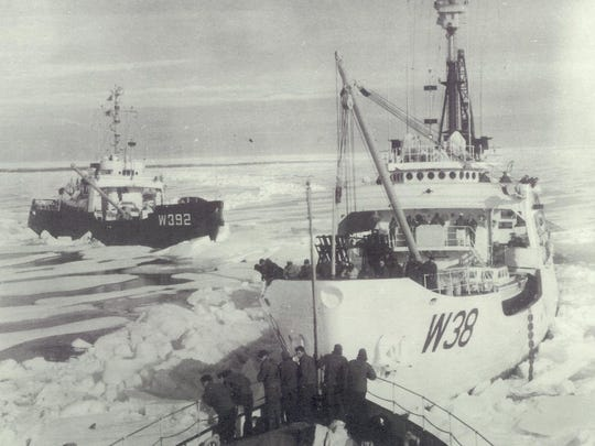 The Storis (W38) and the Bramble (392) are seen in the summer of 1957 when they became the first American vessels to circumnavigate the continent. The photo is taken from the Spar, the third ship in the epic endeavor.