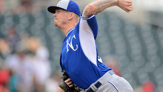 Mar 11, 2015; Goodyear, AZ, USA; Kansas City Royals starting pitcher John Lamb (38) pitches against the Cincinnati Reds at Goodyear Ballpark. Mandatory Credit: Joe Camporeale-USA TODAY Sports