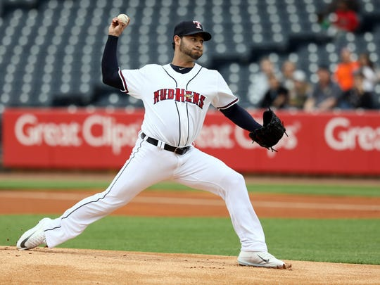 Anibal Sanchez pitches for the Toledo Mud Hens against the Norfolk Tides on Tuesday, May 23, 2017 at Fifth Third Field in Toledo, Ohio.
