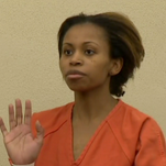 Ebony Wilkerson, 32, appears before a Volusia County judge Saturday. The judge set her bond at $1.2 million.