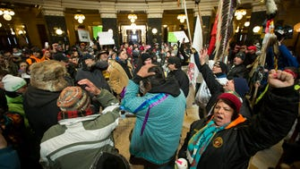 Hundreds of supporters of a proposed casino in Kenosha rally at the state Capitol in February 2015 in Madison.