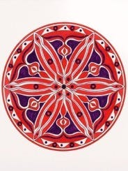 A mandala painted by local artists Susan Phillips. This among others will be displayed at Still Bank on Aug. 25.