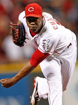 Cincinnati Reds relief pitcher Aroldis Chapman saved 33 games last season.
