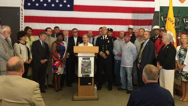 U.S. Senator Kirsten Gillibrand spoke at White Plains Fire Station No. 6 on August 12, 2015 about a push to make the Zadroga bill permanent.