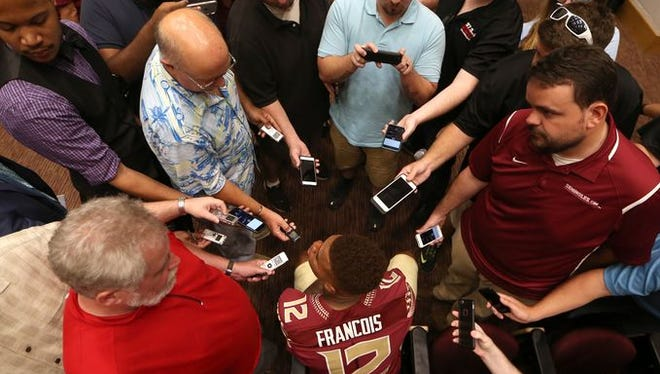 Deondre Francois takes questions from the media at FSU's Media Day.