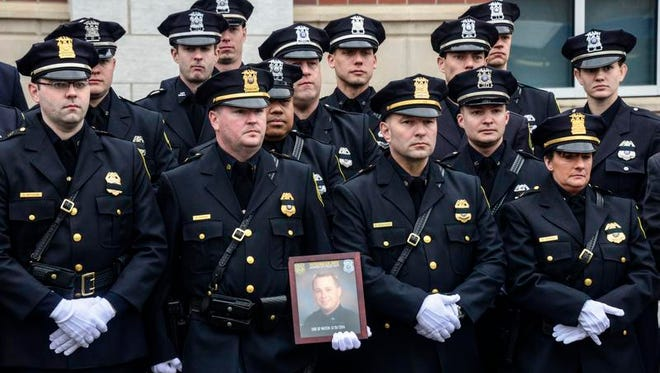 The service for Johnson City Officer David Smith, who was killed in the line of duty, was held April 4, 2014, at Sarah Jane Johnson Church, Johnson City.