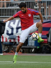 FILE - In this July 1, 2017, file photo, United States' Kenny Saief is shown in action during an international friendly soccer match against Ghana at Pratt & Whitney Stadium at Rentschler Field, in East Hartford, Conn.  Saeif will miss the CONCACAF Gold Cup because of a groin injury and will be replaced by Chris Pontius on the U.S. roster. (AP Photo/Jessica Hill, File)