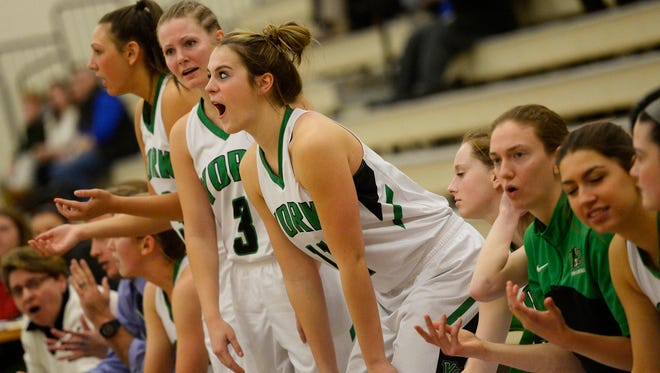 York College's Morgan Kuehne joins her team in voicing her opinion about a call during a game last season. Kuehne, a Red Lion graduate, is one of seven York County high school alumae on the Spartans' roster this season.