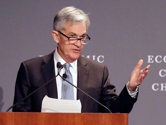 In this April 6, 2018, file photo, Federal Reserve Chairman Jerome Powell speaks before the Economic Club of Chicago in Chicago.