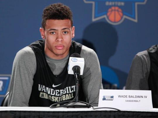 Vanderbilt guard Wade Baldwin speaks at a press conference Monday at Dayton Arena.