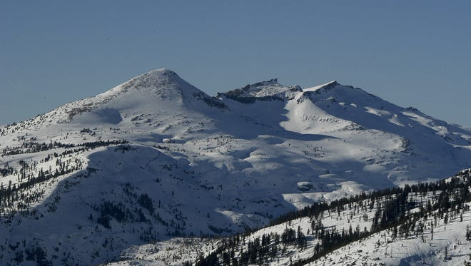 A file photo showing snow covering Pyramid Peak. Reno forecasters expect a second cold front to drop more snow.