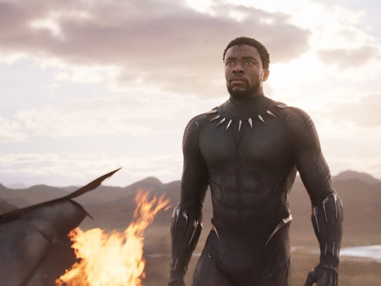 """T'Challa (Chadwick Boseman) is ready to defend Wakanda forever in """"Black Panther."""""""