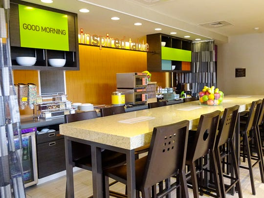 The breakfast bar of the Home2 Suites by Hilton Parc, Lafayette Tuesday, May 9, 2017.