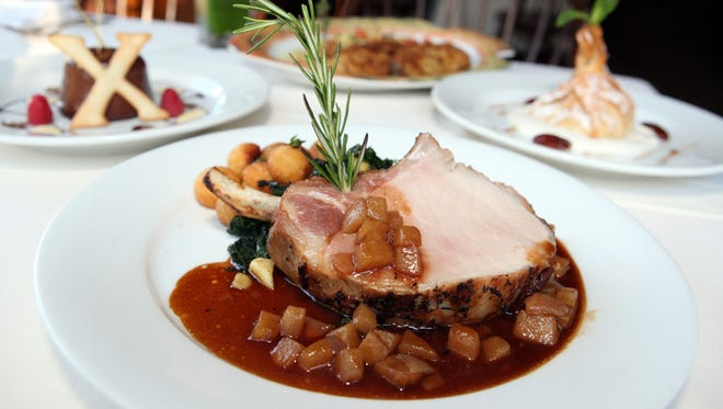 Roasted Rack of Heritage Pork, on the menu at Restaurant X and Bully Boy Bar for Hudson Valley Restaurant Week.