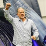 Colts Head Coach Chuck Pagano and rest of the Chuckstrong Starting Lineup runs through the horse tunnel during the Chuckstrong Tailgate Gala Indiana Farm Bureau Football CenterThursday April 21st, 2016. Hosted by the Indianapolis Colts and Head Coach Chuck Pagano, the  Gala raised awareness and funds for cancer research at the Indiana University Melvin and Bren Simon Cancer Center.