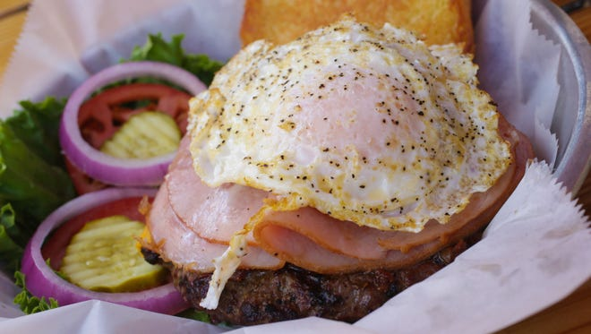 Thursday June 26th, 2014, Hang Over Burger, from Bub's Burgers & Ice Cream, in Carmel. Any of Bub's burgers can be turned in to a hang over burger, which includes the addition of bacon, cheese, fried ham, and an egg.