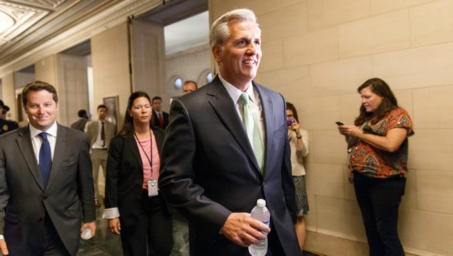 House Majority Whip Kevin McCarthy arrives for leadership elections on June 19, 2014.