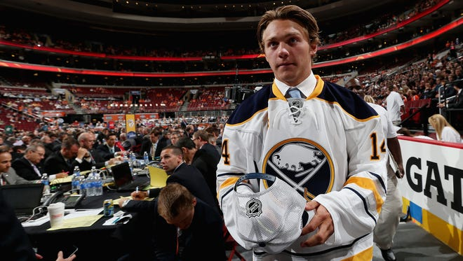 Brendan Lemieux meets his team after being selected No. 31 by the Buffalo Sabres on Day 2 of the NHL draft.