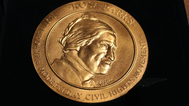 The Congressional Gold Medal of Honor awarded to Rosa Parks in 1999 is one of the items in the Rosa Parks collection.