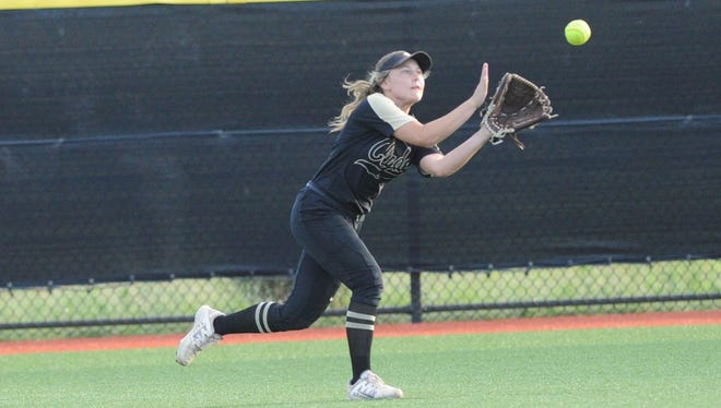 Clyde right fielder Sydnee Leverich (11) looks in a fly ball during the Lady Bulldogs' 5-0 loss to Brock in Game 1 of the Region I-3A final on Thursday, May 24, 2018. The series continues Saturday at ACU at 6 p.m.