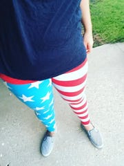 Erica Dombrowski wears a pair of LuLaRoe leggings.