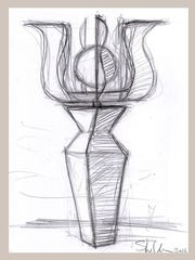 "This sketch shows ""Aequitas,"" a kinetic sculpture proposed by Asheville sculptor David Sheldon for the plaza outside the Buncombe County Courthouse."