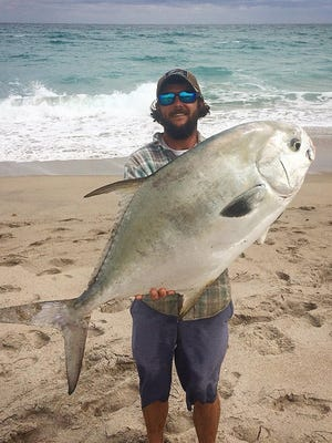 A whopper of a permit was caught by Capt. Zach Hazellief of Lady Chris party boat out of Taylor Creek Marina in Fort Pierce. Rough seas may have kept the boat at the dock, but Hazellief fished Saturday off a St. Lucie County beach to catch this permit.