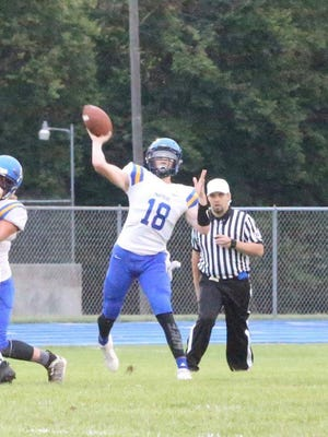Nickerson quarterback Blake Teichmann throws the ball during last Friday's loss at Halstead. Nickerson will travel to Maur Hill-Mount Academy this Friday.