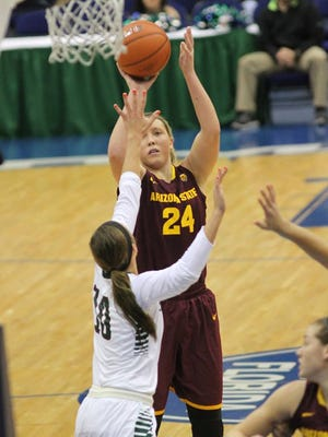 Sophomore forward Kelsey Moos had a team-high 15 points Saturday in Arizona State's 63-57 loss to Green Bay.