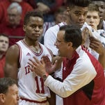 Jan 30, 2016; Bloomington, IN, USA; Indiana Hoosiers head coach Tom Crean talks to guard Yogi Ferrell (11) in the first half at Assembly Hall. The Indiana Hoosiers beat the Minnesota Golden Gophers 74-68. Mandatory Credit: Trevor Ruszkowski-USA TODAY Sports
