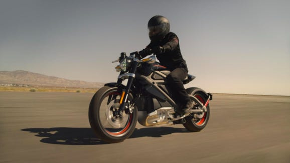 Harley-Davidson's new electric motorcycle will be available for sale within about 18 months, according to the  company. This photo is of a test bike.