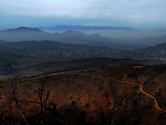 Light rain comes down in Newbury Park as seen from