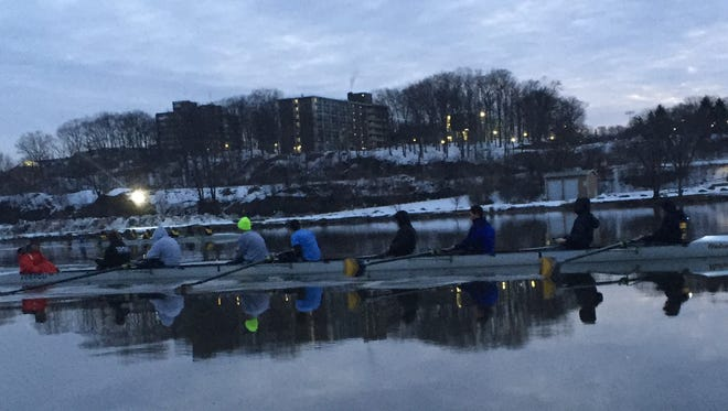 The Our Lady of Lourdes High School boys crew team rowed on the water for the first time this season on Tuesday.