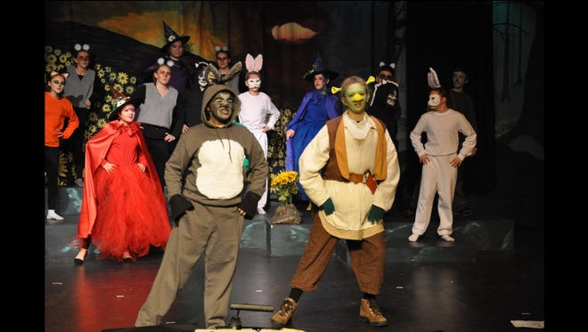 Donkey, played by Malia Bicoy, and Shrek, played by Spencer Hubbard, set off to find Princess Fiona during rehearsals for Shrek the Musical Jr.