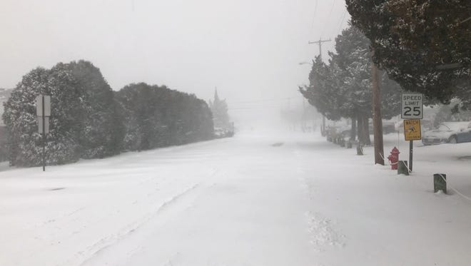 A snowy Tuscarora Avenue in Waretown on the morning of the Jan. 4 blizzard.