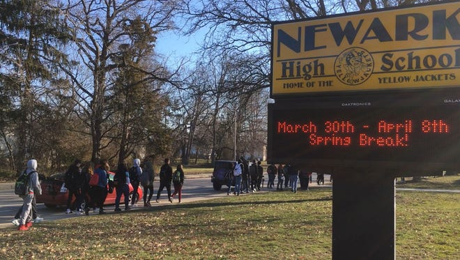 Newark High School. Police are investigating a written threat found in the school.